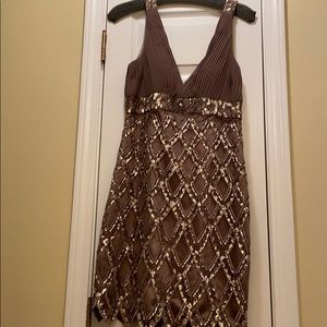 NWT Sue Wong nocturne tan beaded dress size 8